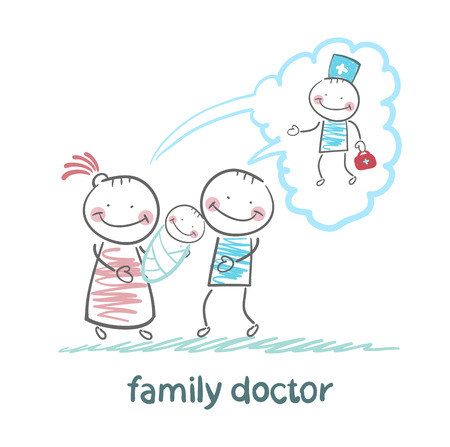thinks: family thinks about the family doctor Illustration
