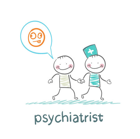 happy people: psychiatrist goes to the patient, which is crazy