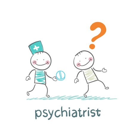 psychiatrist: psychiatrist gives the patient a pill crazy Illustration