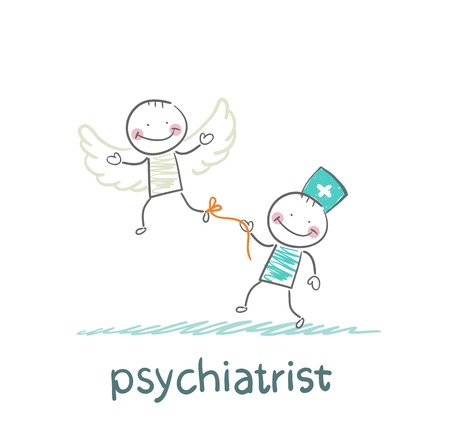 keeps: psychiatrist keeps bound patient, that he did not fly away Illustration