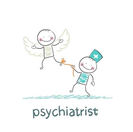 psychiatrist keeps bound patient, that he did not fly away Illusztráció
