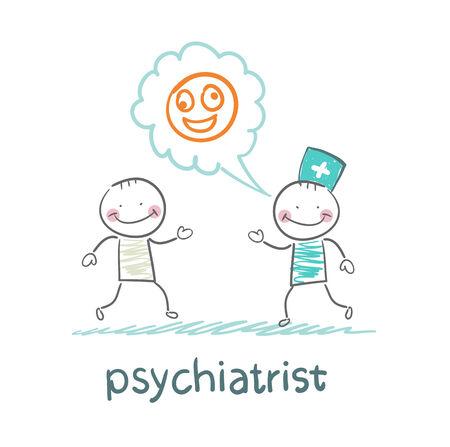 patients: psychiatrist says a patients illness Illustration