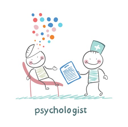 mental work: psychologist with a folder, and the patients head exploded Illustration