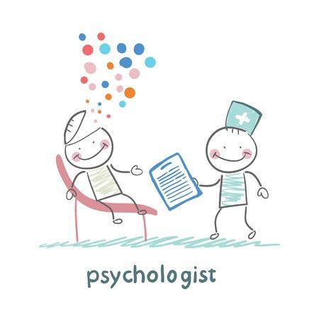 psycholoog met een map, en het hoofd van de patiënt ontplofte Stock Illustratie