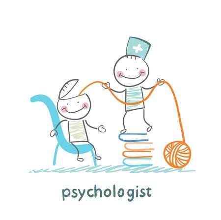 psycholoog is op een stapel boeken en trekt de draden van het hoofd van de patiënt