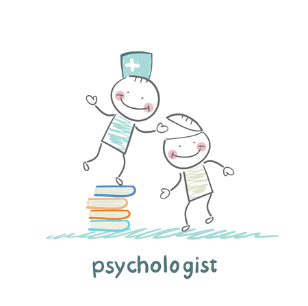psychologist: psychologist is on a stack of books and gives the patient a tablet