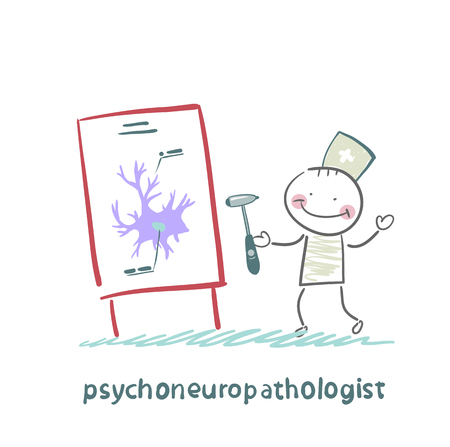 nerve cells: psychoneuropathologist holds the hammer and says a presentation on the nerve cells
