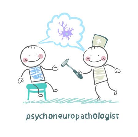 nerve cells: psychoneuropathologist   check the patients nerves and talk about the nerve cells Illustration