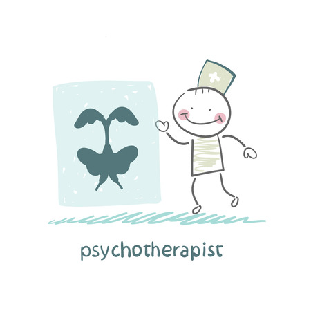 psychotherapist  shows a picture test Stock Illustratie
