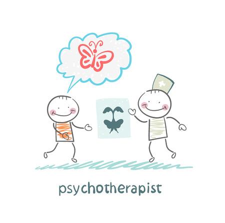 neurologist: psychotherapist  shows the patient image test