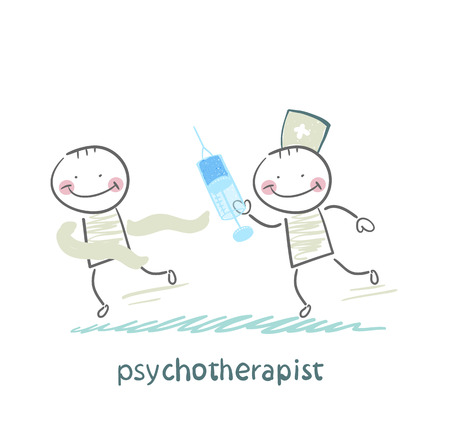 neurologist: psychotherapist  with a syringe catching up with the crazy