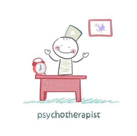 psychotherapeut werken in zijn kantoor