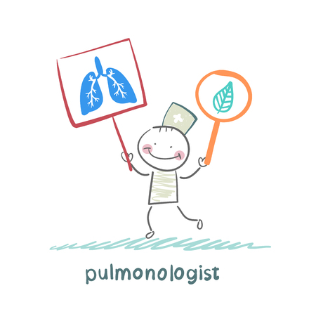 pulmonologist holding posters with the image of the lungs 일러스트