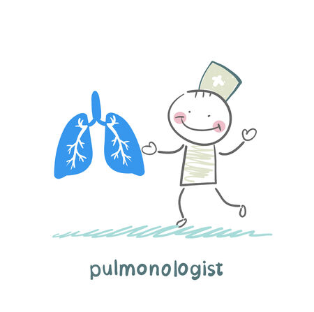 pulmonology: pulmonologist is standing next to a persons lungs Illustration