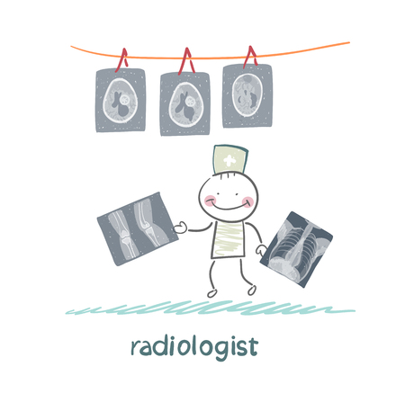 Radiologist with X-ray images Illustration