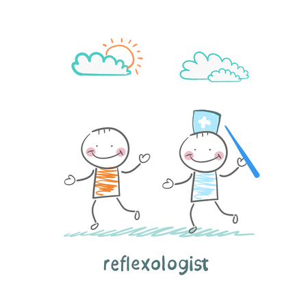reflexologist: reflexologist with a needle catches patient