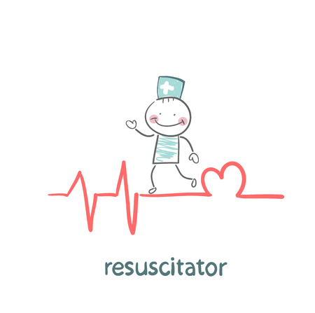 beating: resuscitation is on the line showing the beating of the heart
