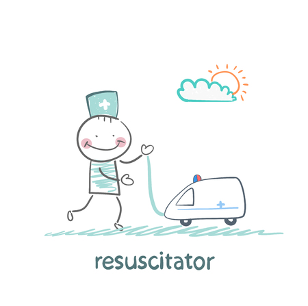 played: resuscitator played with toy ambulance Illustration