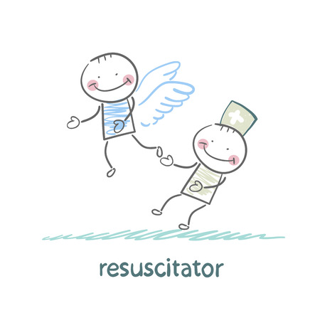 resuscitator keeps flying away into the sky patient Vector