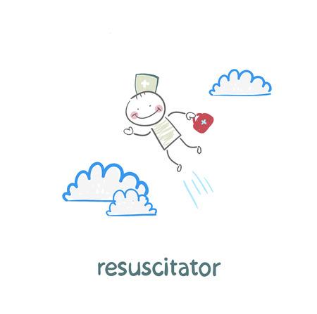 cardiopulmonary: resuscitator flies to the patient Illustration
