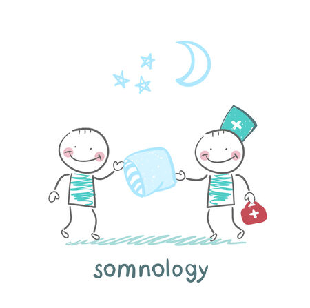snore: somnology gives the patient a sleep pillow Illustration