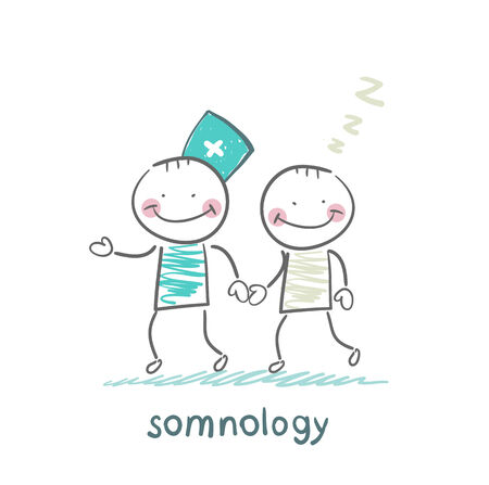somnology  with a patient who has fallen asleep Stock Vector - 24126716