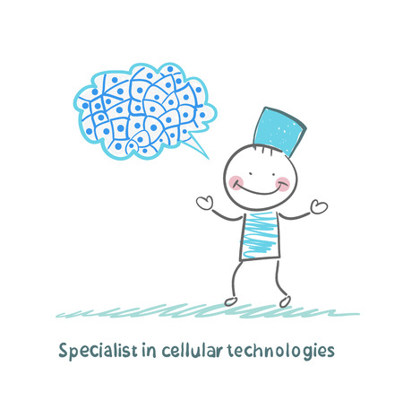 experimental: Specialist in cellular technologies thinks of cells Illustration