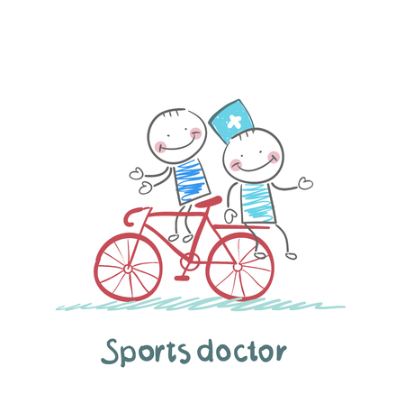 Sports doctor rides a bicycle with a patient Illustration