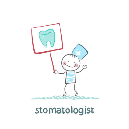 stomatologist: stomatologist with a placard on which painted a tooth