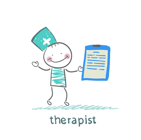 physical therapy: therapist holding folder in hand Illustration