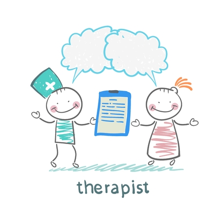 therapeut houdt een map in zijn hand en zegt tegen de patiënt