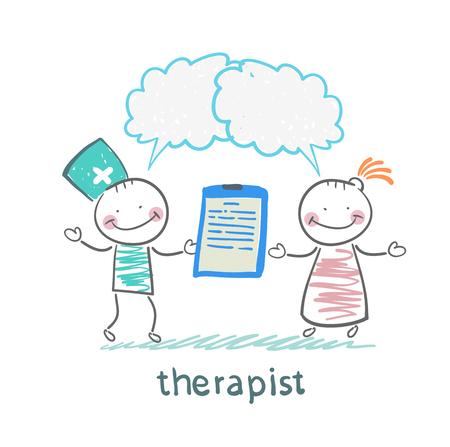 Therapeut houdt een map in zijn hand en zegt tegen de patiënt Stockfoto - 24126820
