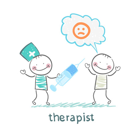 therapist: therapist with syringe is looking at the patients Illustration