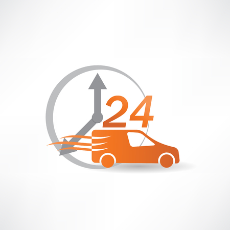 delivery car twenty-four hours a day icon Stock Vector - 24583879