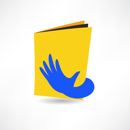 palm reading: hand on the book icon Illustration