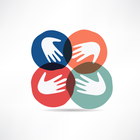 hand touch: handshake and friendship icon Illustration