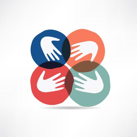 hold hand: handshake and friendship icon Illustration