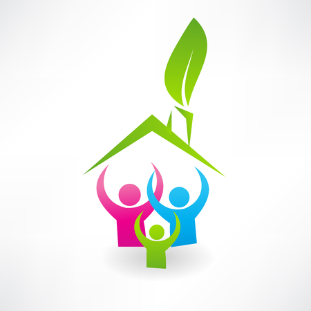 Ecological house and family icon