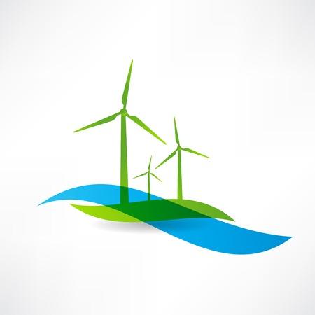 Mettre des éoliennes icône Banque d'images - 24584041