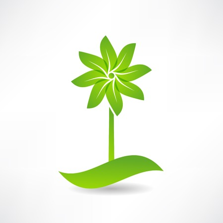 green windmill. design element icon Vector