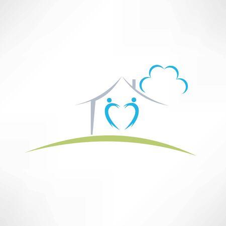 happy home icon Ilustracja