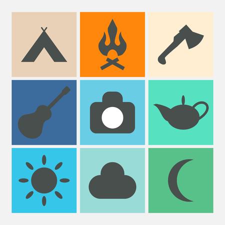 summer holiday: Camping icons