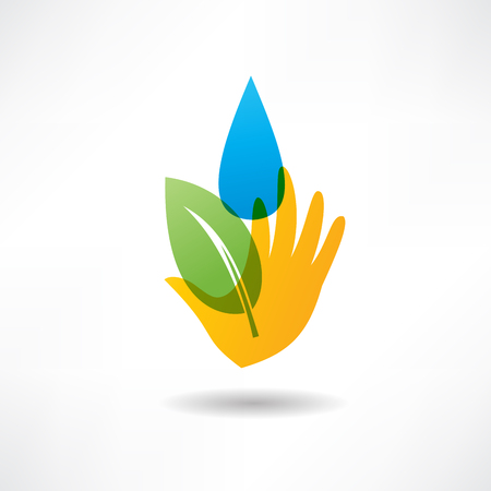 safe water: eco concept hand and water icon