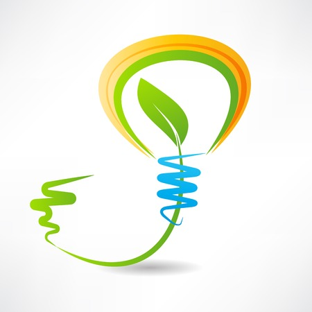 light bulb with leaf inside. design element icon Vector