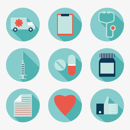 an injection needle: Medicine icons Illustration