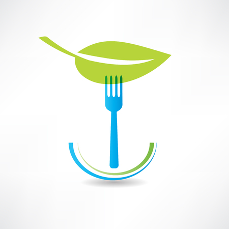 green leaf and blue fork icon Ilustracja