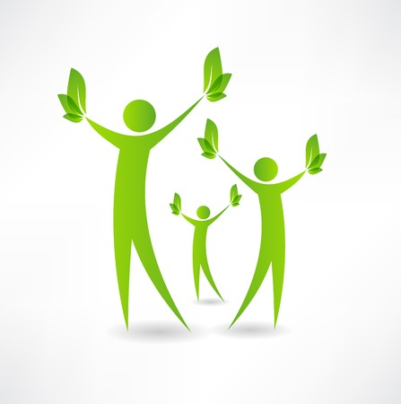 metaphorical: Group of people holding green leaves in the hands of icon Illustration