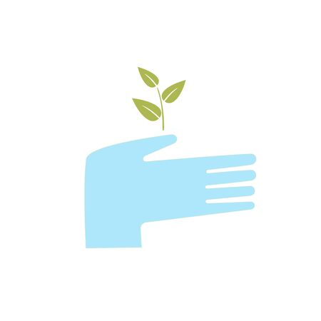 the sprouting: hand holding a sprouting plant and protects it