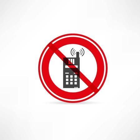 cell phones not allowed: phone use is prohibited icon Illustration