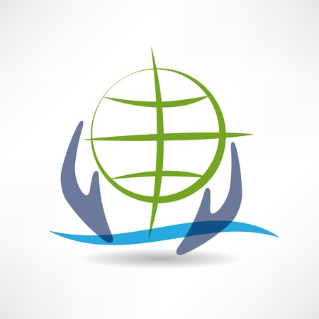 Eco Earth in hands icon Stock Vector - 24584180